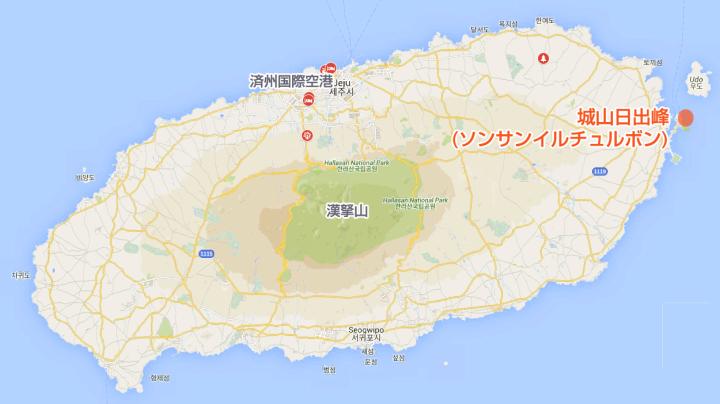 城山日出峰(ソンサンイルチュルボン)の地図