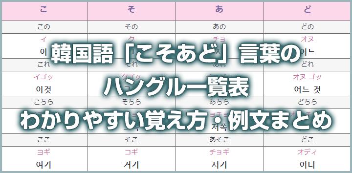 韓国語「こそあど」言葉のハングル一覧表 – わかりやすい覚え方・例文まとめ