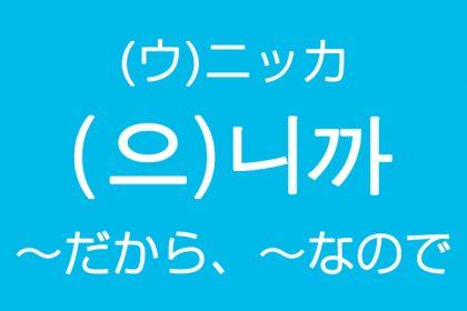 「~だから、~なので」を韓国語では?으니까(ウニッカ)니까(ニッカ)理由の表現