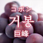 「巨峰(きょほう)」を韓国語では?「거봉(コボン)」の意味
