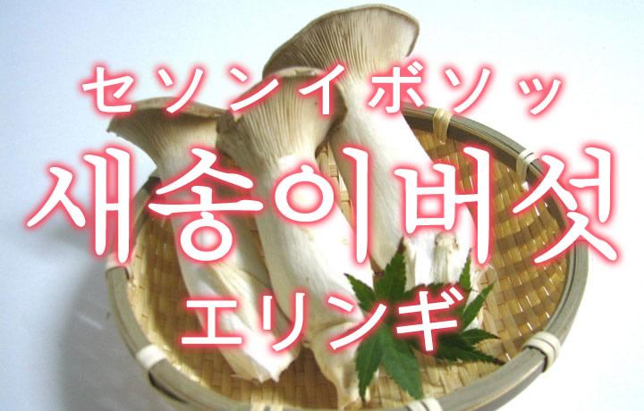 「エリンギ」を韓国語では?「새송이버섯(セソンイボソッ)」の意味