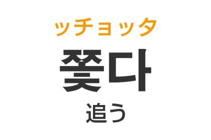 「追う(おう)」を韓国語では?「쫓다(ッチョッタ)」の意味・使い方